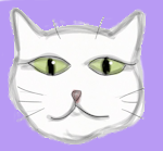 White Cat face drawing